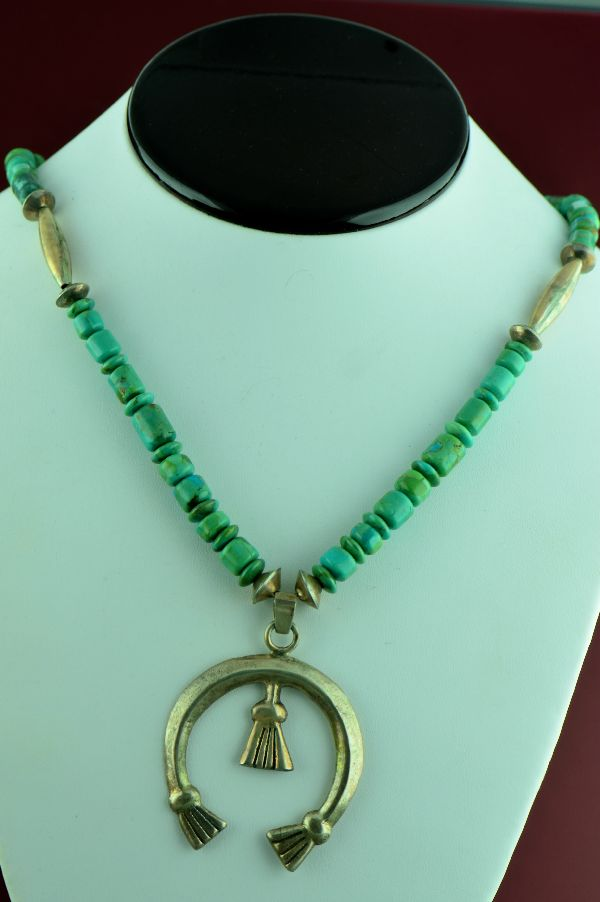 "Navajo – Vintage Sterling Silver Royston Turquoise Necklace with Naja Pendant with 20"" (From a Private Collection)"