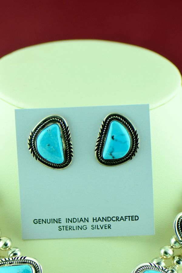 Navajo – Sterling Silver Natural Morenci Turquoise Necklace and Earrings by Alex Begay