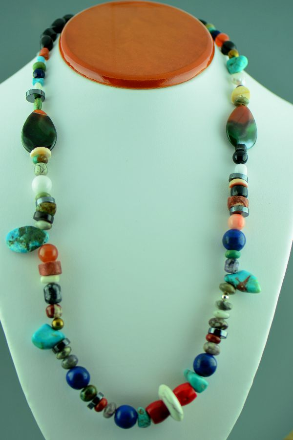Navajo - Sterling Silver Turquoise, Agate, Black Onyx, Spiny Oyster Shell, Lapis, Mother of Pearl and Pipestone Bead Necklace by Loren Begay