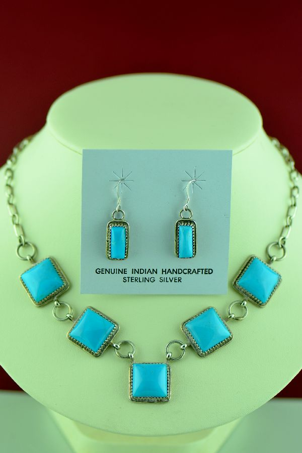 Navajo � Sterling Silver Morenci Turquoise Necklace and Earrings by Richard Begay