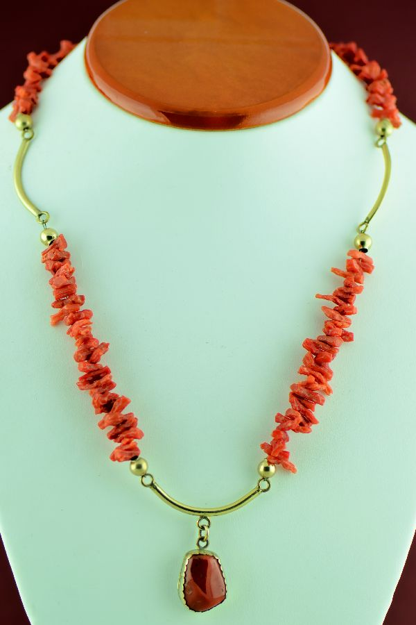 Navajo – 12ktGF and Sterling Silver Coral Necklace by Loren Begay