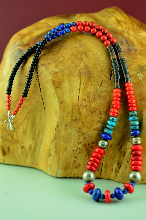 Navajo – Sterling Silver Lapis, Apple Coral, Turquoise Penshell and Black Onyx Necklace by Alex Begay