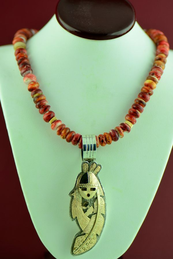 Navajo – 14KT Gold and Sterling Silver Kachina Pin/Pendant and 14KT Gold Spiny Oyster Shell Necklace by D. Yazzie
