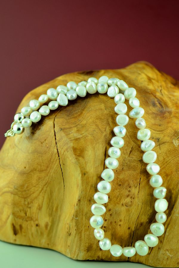 Navajo – Sterling Silver Fresh Water Pearl Necklace by Mary Begay