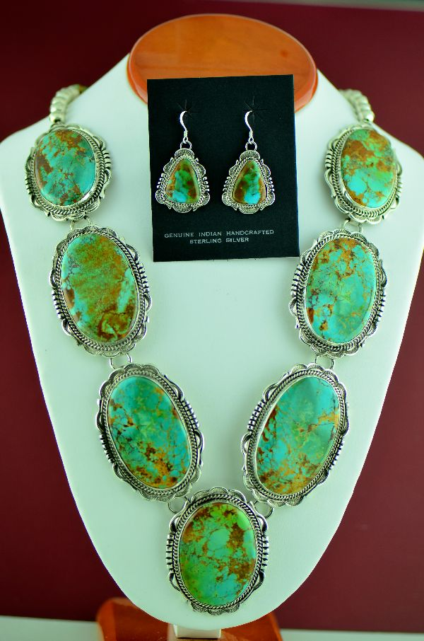 Navajo � Exquisite Sterling Silver Natural High Grade Royston Turquoise Necklace and Earrings by Will Denetdale (From a Private Collection)