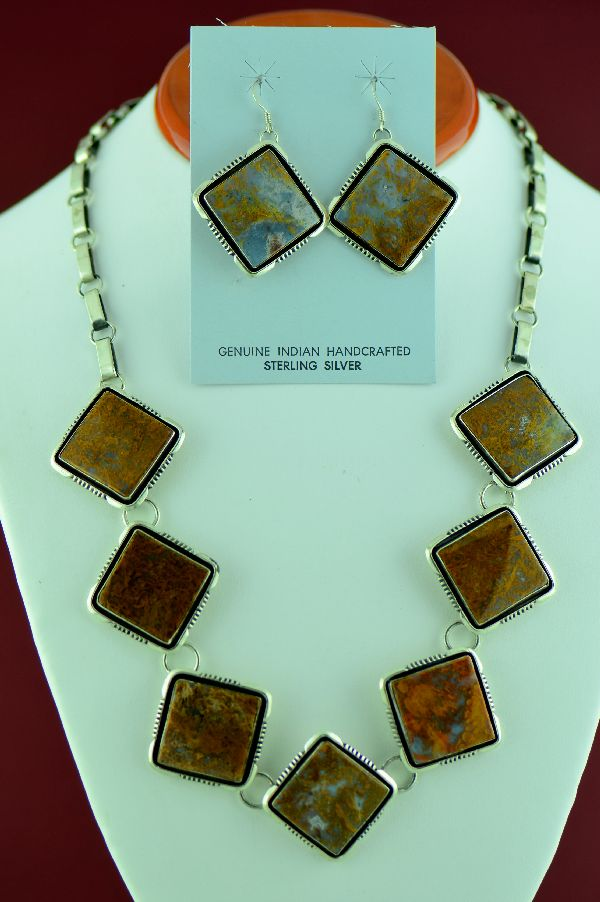 Navajo – Exquisite Sterling Silver Brecciated Jasper Necklace and Earrings by Will Denetdale