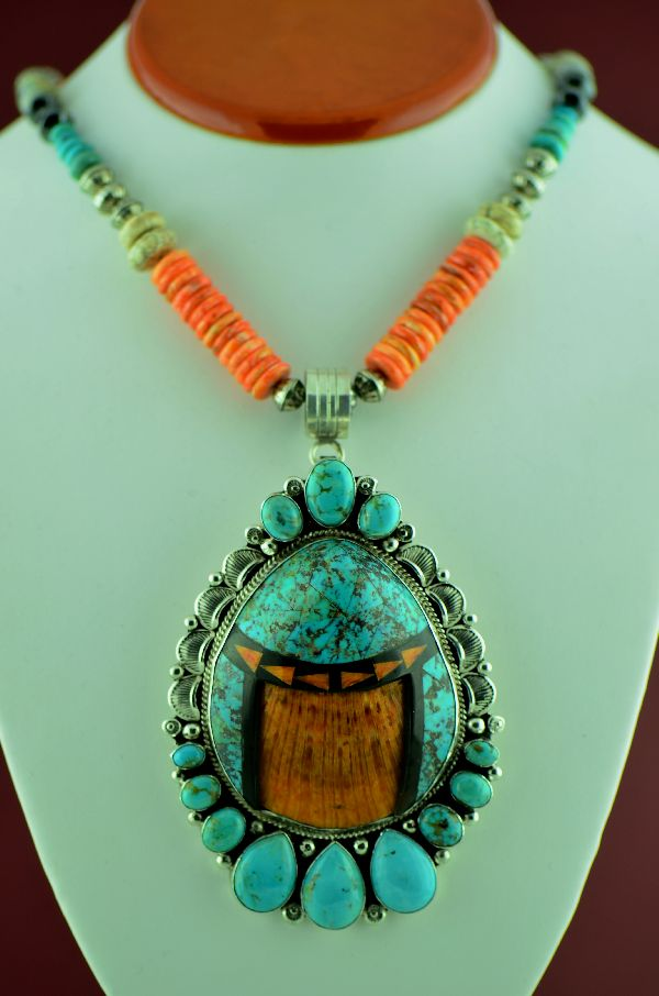 Navajo –  Spiny Oyster Shell, Kingman Turquoise, Jasper, Hematite, Black Onyx and Picasso Marble Necklace with Sterling Silver Kingman Turquoise, Jet and Spiny Oyster Shell Pendant by Will Denetdale (Private Collection)