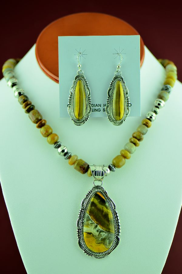 Navajo – Sterling Silver Bumble Bee Jasper Necklace, Pendant and Earrings by Will Denetdale