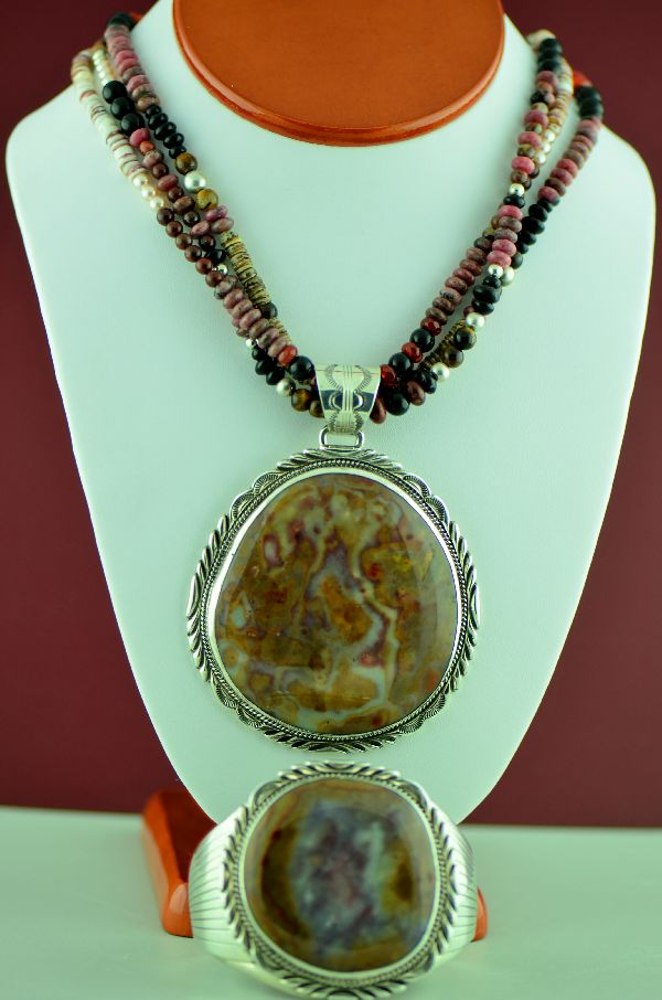 Navajo –  Sterling Silver Jasper, Penshell, Black Onyx, Tiger Eye and Agate 3 Strand Necklace with Petrified Wood Pendant and Bracelet by Will Denetdale and Alvin Joe (Private Collection)