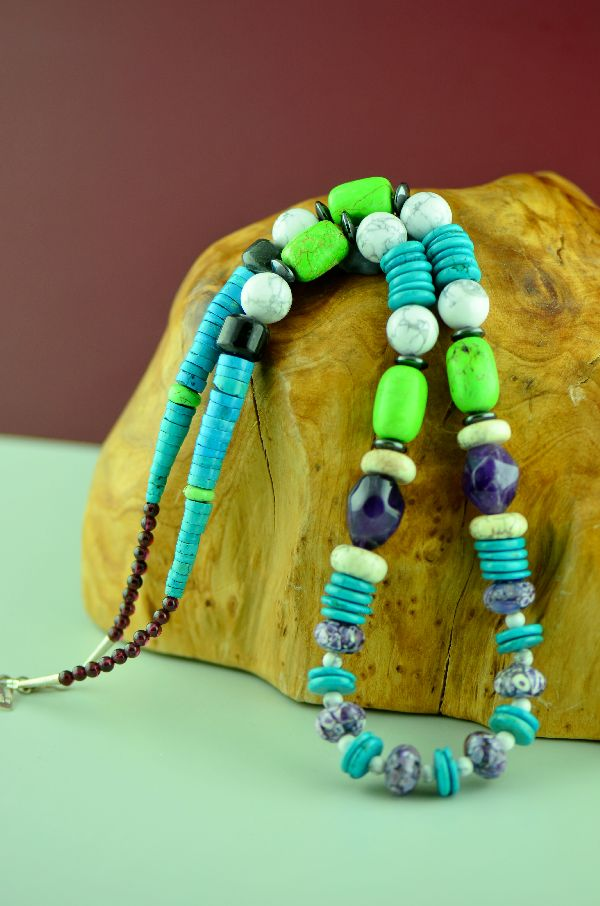 Navajo – Sterling Silver Kingman Turquoise, Gaspeite, Black Onyx, Marble, Amethyst and Hematite Necklace by Alex Begay