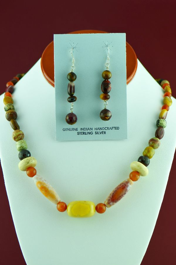 Navajo – Beautiful Honey Agate, Black Onyx, Shell, Jasper, Tiger Eye and Picasso Marble Necklace and Earrings by Alex Begay