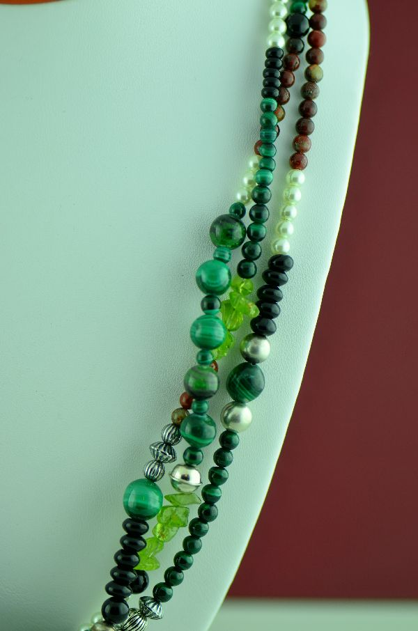 Navajo – Sterling Silver Three Strand Malachite, Peridot, Black Onyx, Pearl and Jasper Necklace by Alex Begay