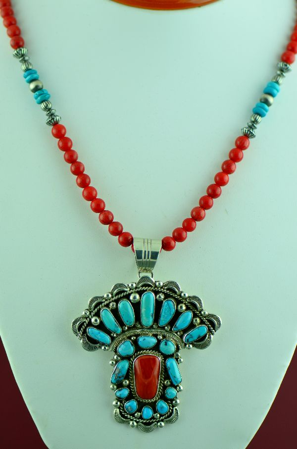 Navajo – High Grade Morenci Turquoise and Mediterranean Coral Sterling Silver Pendant and Morenci Turquoise and Mediterranean Coral Necklace by Will Denetdale and Alex Begay  (Private Collection)
