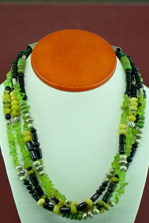 Navajo –Sterling Silver 4 Strand Peridot, Black Onyx and Gaspiete Necklace by Alvin Joe