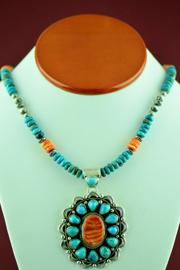 Morenci Turquoise and Spiny Oyster Shell Necklace