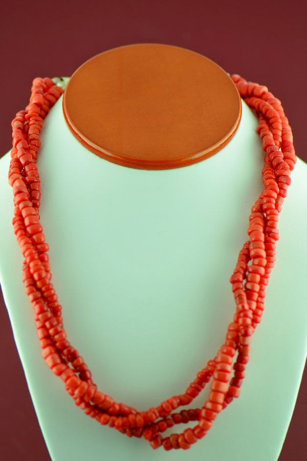 Navajo –Sterling Silver 3 Strand Natural Mediterranean Coral Necklace by Alex Begay