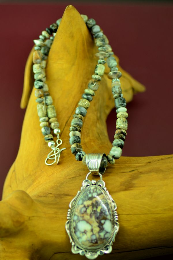 Navajo – Sterling Silver Wild Horse Magnesite Necklace and Pendant by Alex Begay and Will Denetdale