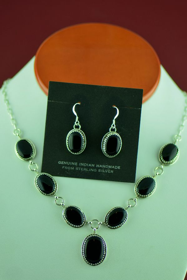 Navajo Sterling Silver Black Onyx Necklace and Earrings by Garrison Boyd