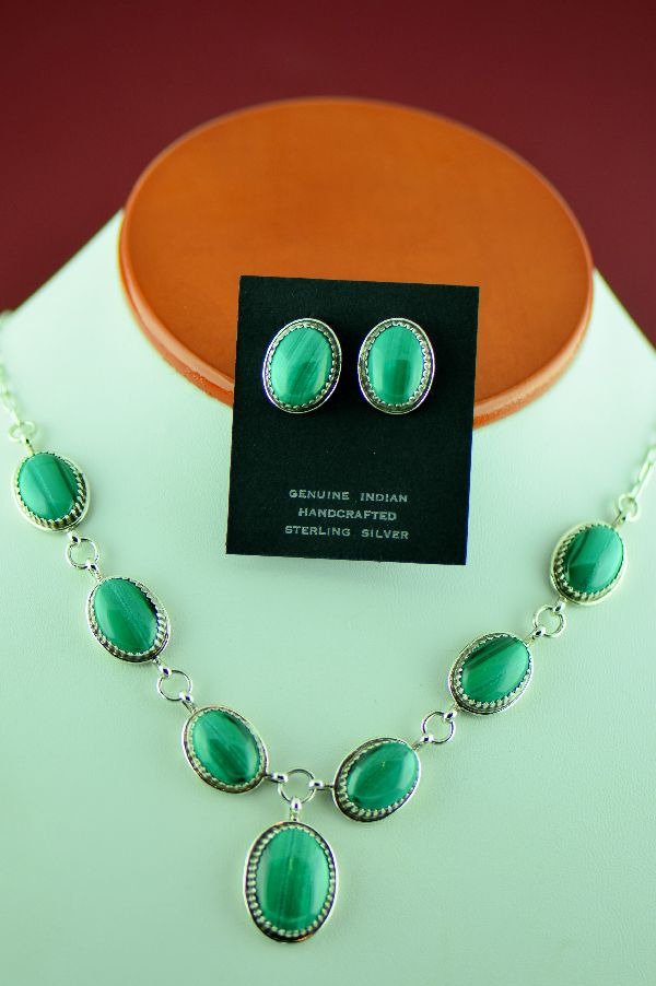 Navajo Sterling Silver Malachite Necklace and Earrings by Garrison Boyd