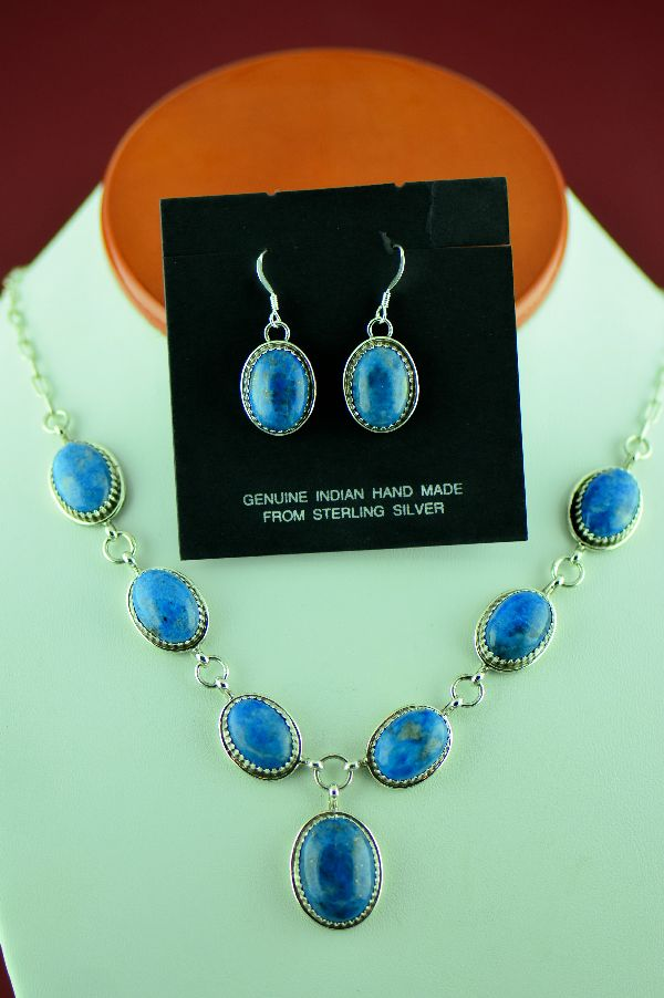 Navajo Sterling Silver Denim Lapis Necklace and Earrings by Garrison Boyd