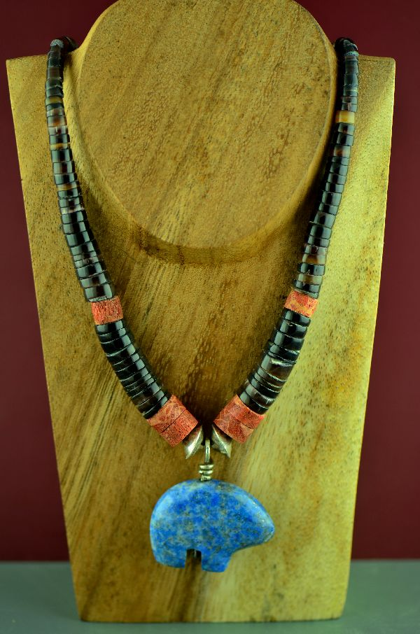 Santo Domingo � Sterling Silver Blue Denim Lapis Bear, Penshell and Spiny Oyster Shell Necklace