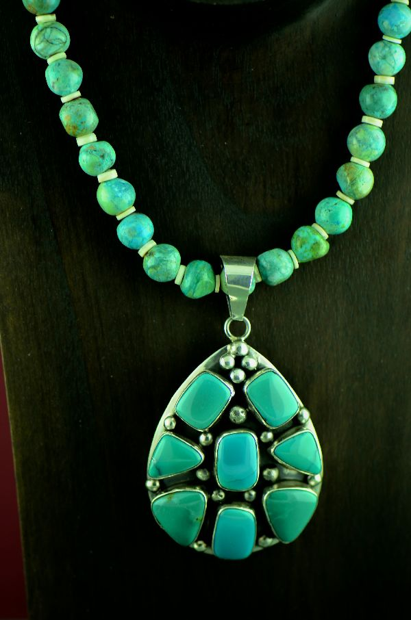 "Navajo Exquisite Sterling Silver  Royston Turquoise Pendant with 20"" Royston Turquoise and Penshell Necklace by Barbara Johnson (Private Collection)"