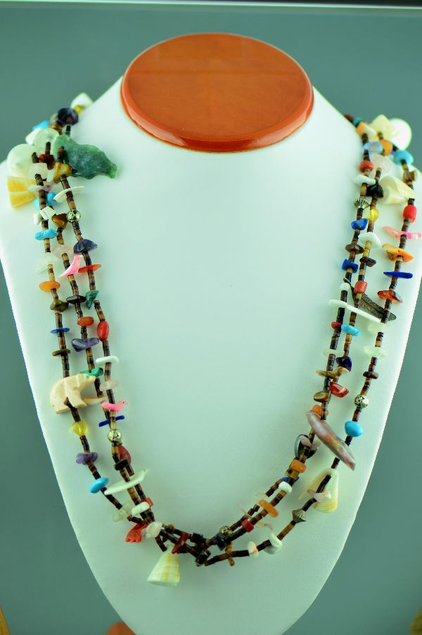 Santo Domingo – Vintage 3 Strand Multi-Stone Sterling Silver Treasure Necklace (1960's Circa – Private Collection)