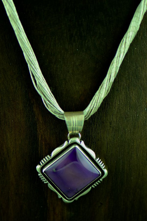 Navajo � Magnificent Sterling Silver Natural Sugilite Pendant with a 20 Strand Liquid Silver Necklace by Will Denetdale