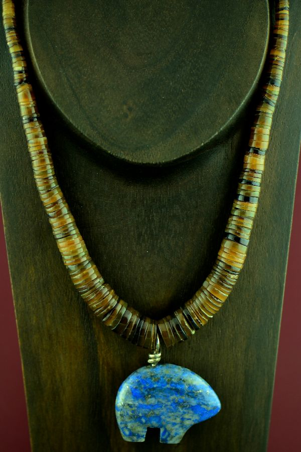 Santo Domingo Sterling Silver Blue Denim Lapis Bear and Penshell Necklace