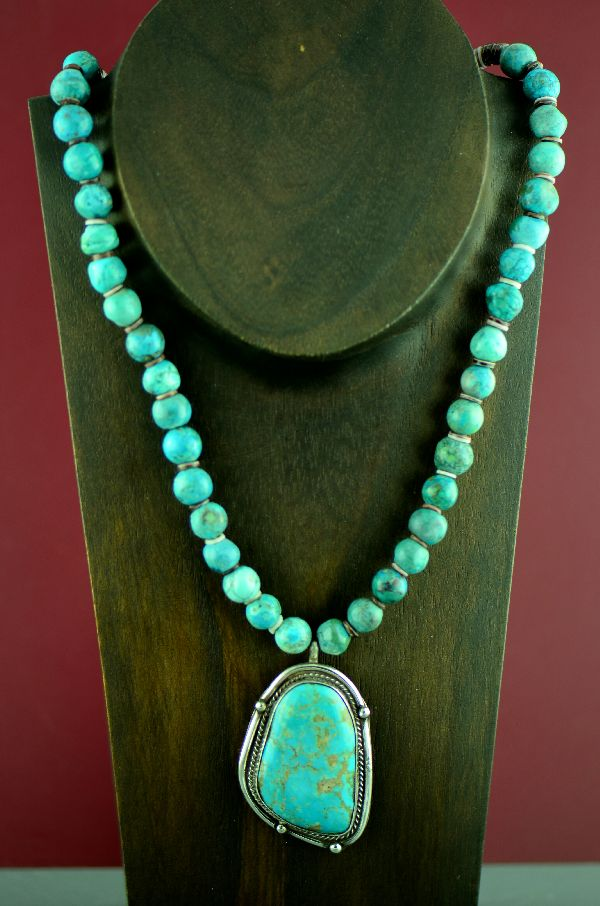 "Navajo/Pima Sterling Silver Royston Turquoise Pendant with 20"" Royston Turquoise and Penshell Necklace by Dan Supata"