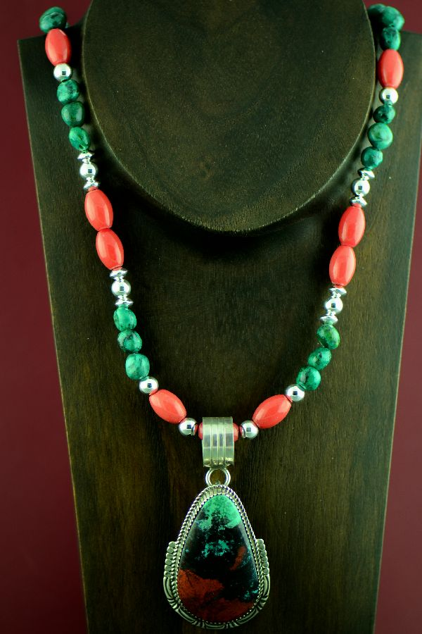Navajo Exquisite Sterling Silver Sonoran Sunrise Pendant with Kingman Turquoise and Apple Coral Necklace by  Garrison Boyd