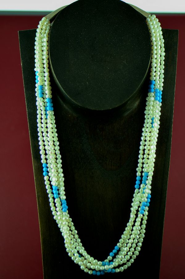 Navajo Sterling Silver 5 Strand Fresh Water Pearl and Turquoise Necklace by Mary Begay