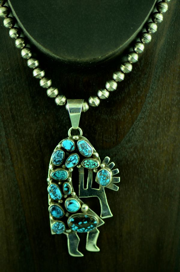 Navajo Sterling Silver Bisbee Turquoise Kokopelli Pendant and Necklace by Bea Tom