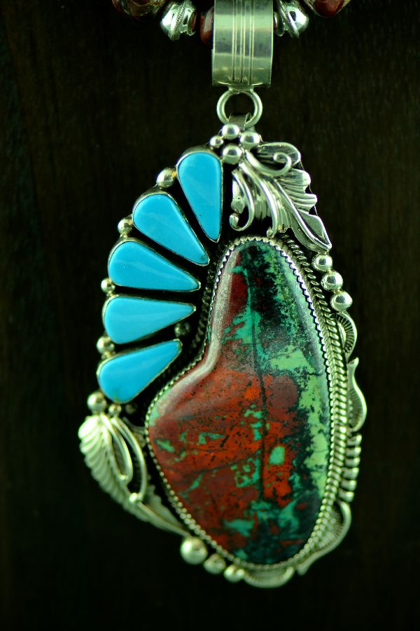 Navajo Exquisite Sterling Silver Sonoran Sunrise Pendant with Sleeping Beauty Turquoise Pendant and Earrings by Will Denetdale Complimented by an outstanding Necklace by Alvin Joe