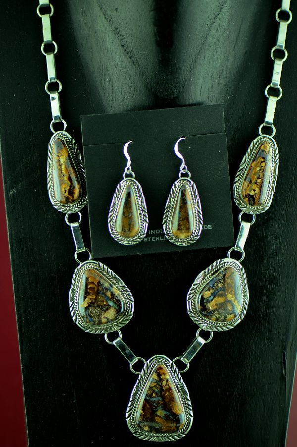 Navajo Sterling Silver Australian Boulder Opal Necklace and Earrings by Will Denetdale