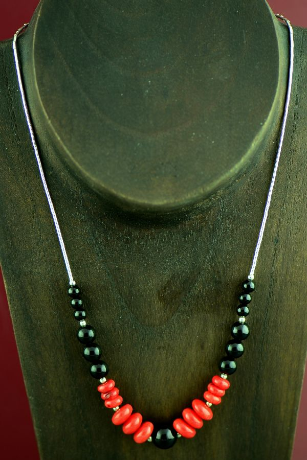 Navajo Sterling Silver Apple Coral and Black Onyx Necklace by Marie Begay