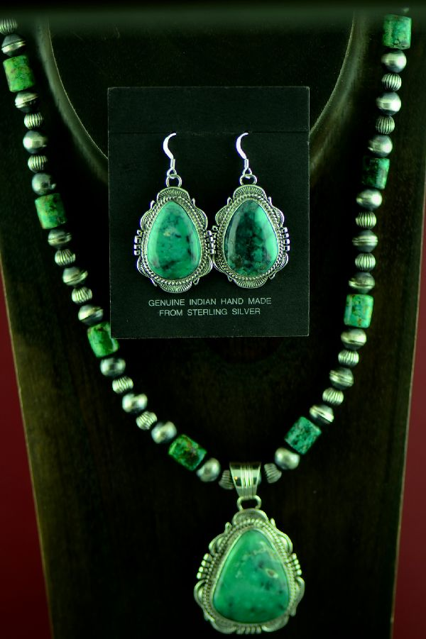 Navajo Exquisite High Grade Broken Arrow Turquoise Necklace, Pendant and Earrings by Will Denetdale and Alvin Joe