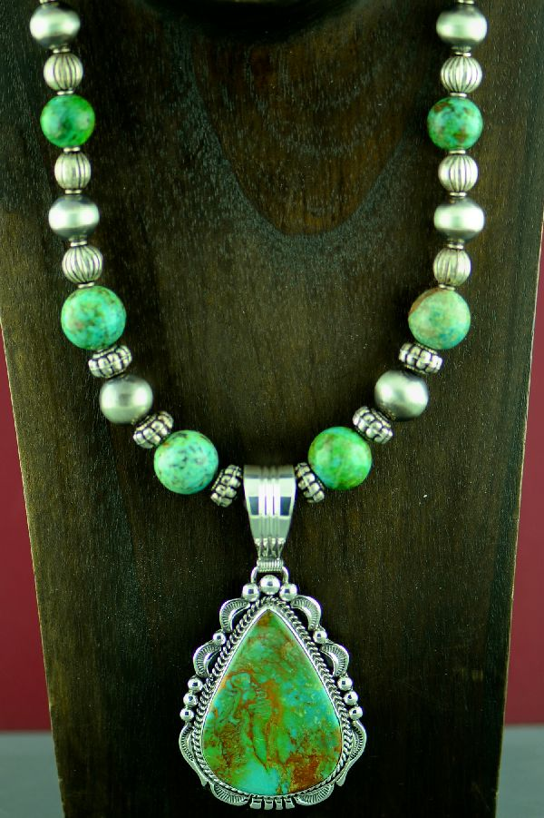 Navajo Exquisite High Grade Royston Turquoise Necklace and Pendant by Will Denetdale and Alvin Joe