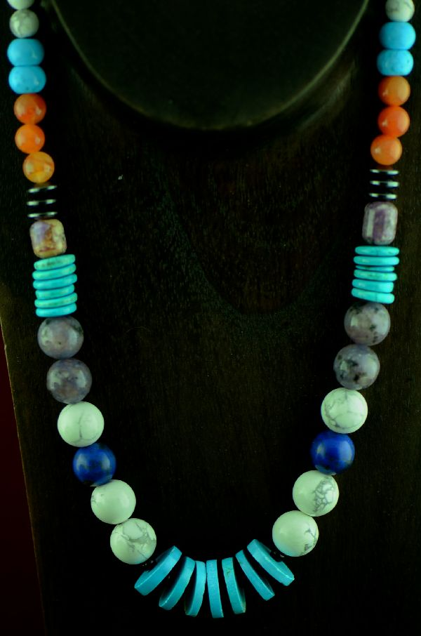 Alex Begay Kingman Turquoise, Lapis, Agate and Hematite Necklace