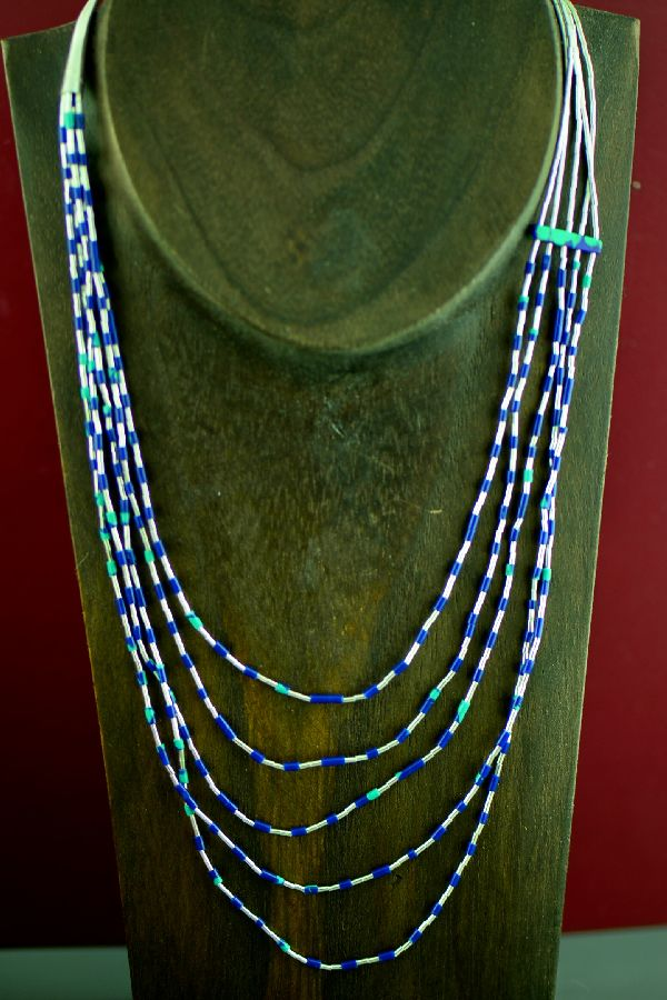 Navajo Sterling Silver Lapis and Turquoise Necklace by Marie Begay