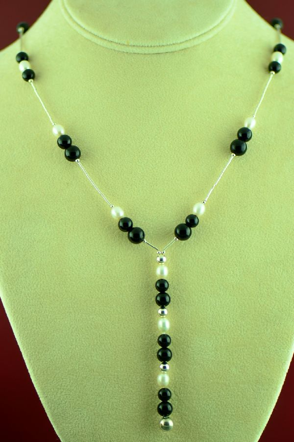 Navajo Sterling Silver Black Onyx and Pearl Necklace by Marie Begay