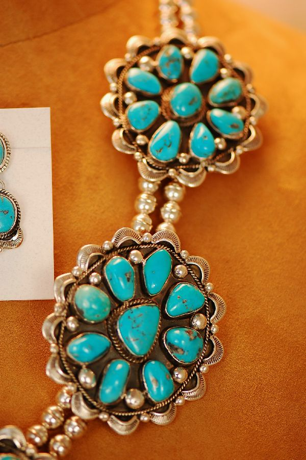 Navajo – Exquisite Heavy Weight Sterling Silver High Grade Natural Morenci Turquoise Cluster Necklace and Earring Set by Will Denetdale (From a Private Collection)