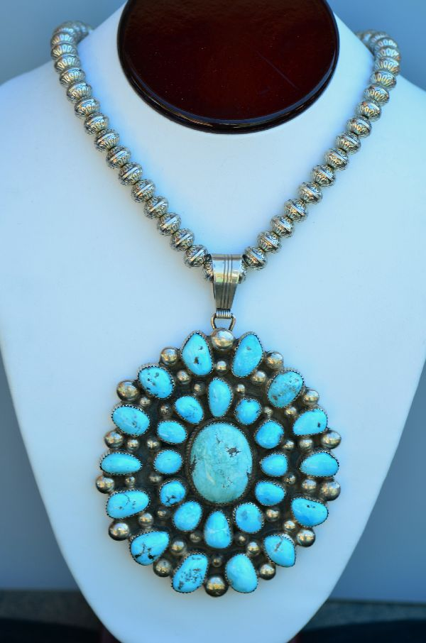 Large Natural Morenci Turquoise Cluster Pendant