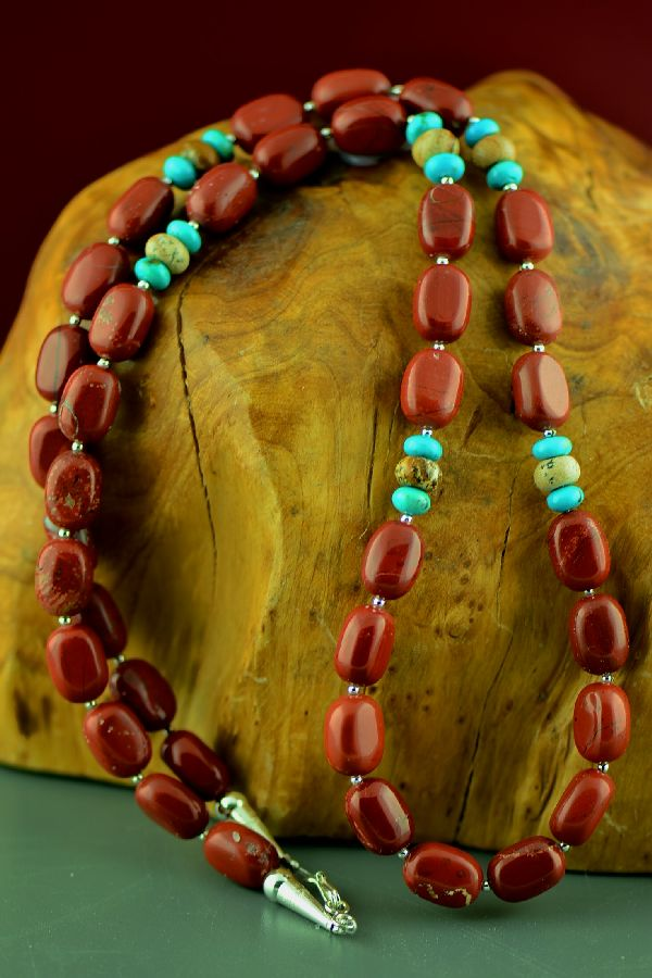 Navajo Sterling Silver Red Jasper and Kingman Turquoise Necklace by Marie Begay