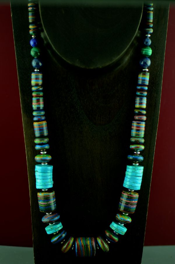Navajo Sterling Silver Rainbow Calsilica and Kingman Turquoise Necklace by Alex Begay