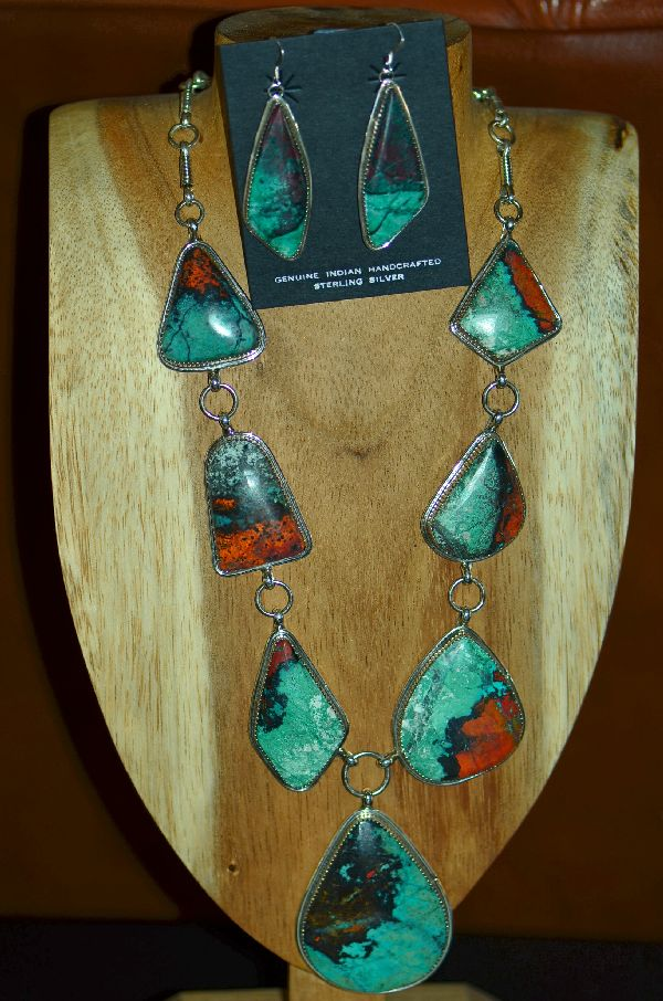 Navajo Sterling Silver Sonoran Sunrise Necklace and Earrings by Garrison Boyd