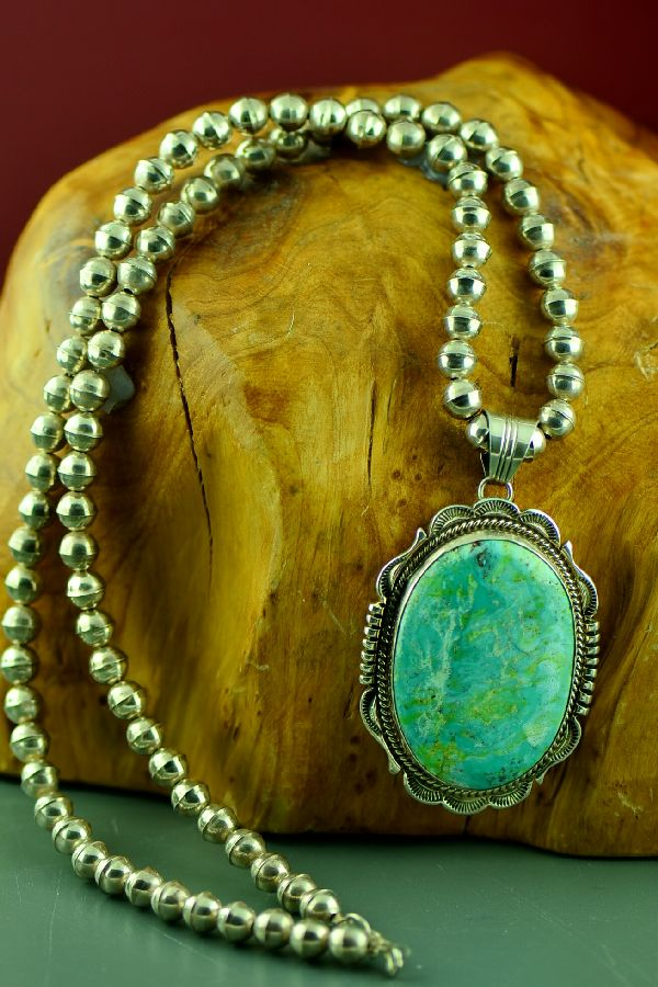 Navajo Exquisite Sterling Silver Natural Royston Turquoise Pendant with 22� Sterling Silver  Necklace by Will Denetdale (From a Private Collection)