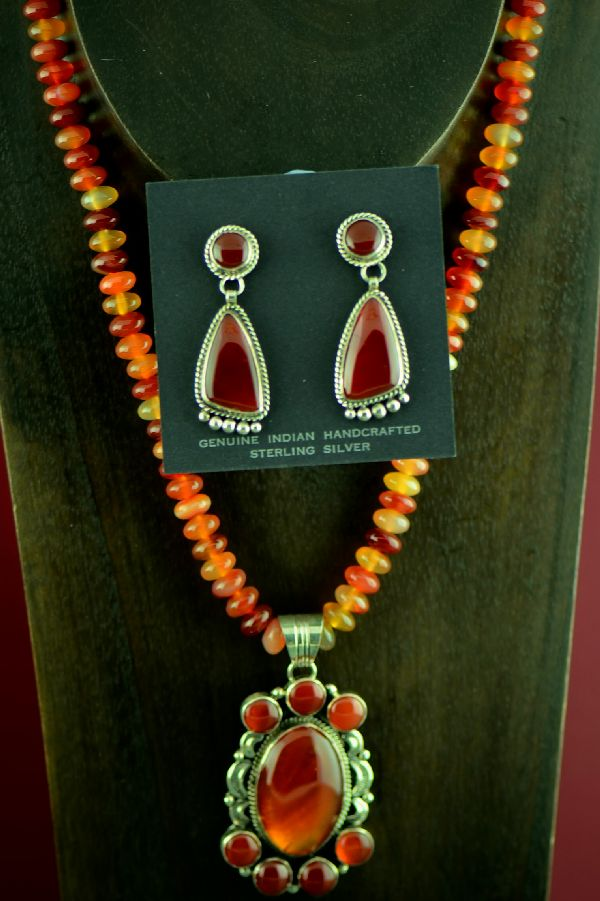Navajo Exquisite Sterling Silver Carnelian Necklace, Pendant and Earrings by Will Denetdale (Private Collection)