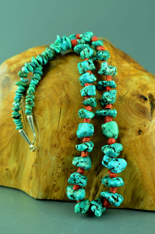 Navajo – Sterling Silver Old Kingman Turquoise and Coral Necklace by 