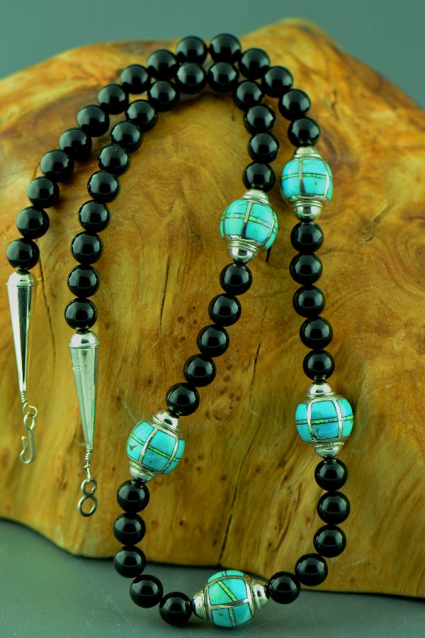 Zuni – Sterling Silver Inlaid Turquoise, Lab Opal and Black Onyx Necklace